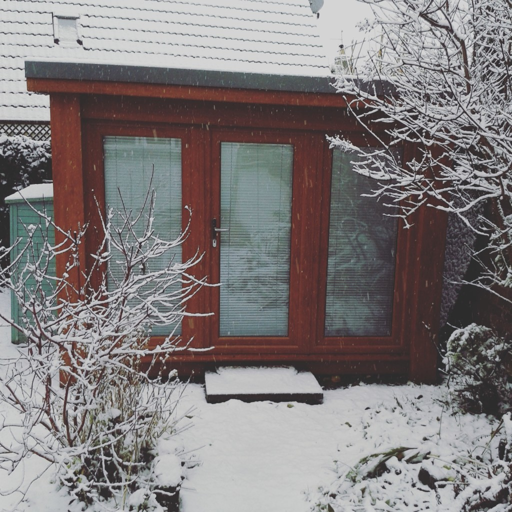 Snowy garden office