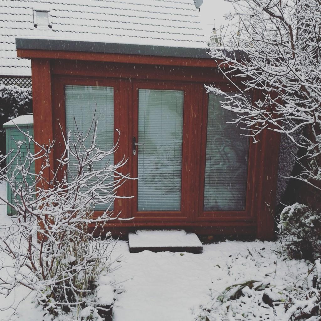 Snowy garden office